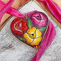 Hand painted wood pendant necklace, 'Burgeoning Heart in Fuchsia' - Sterling Silver and Wood Heart Pendant Necklace