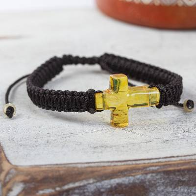 Amber and macrame wristband bracelet, Millenary Cross