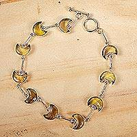 Amber link bracelet, 'Ancient Crescent Moons' - Natural Amber Crescent Moon Link Bracelet