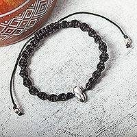 Sterling silver accent unity bracelet, 'Nuuch' - Modern Mexican Macrame Unity Bracelet with Sterling Silver