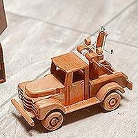 Wood home accent, 'Old-Fashioned Wrecker' - Artisan Crafted Wood Tow Truck Home Accent