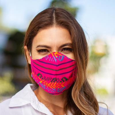 Embroidered face masks, 'Fuchsia Fiesta' (pair) - 2 Fuchsia Embroidered Cambaya Cloth Lined Face Masks