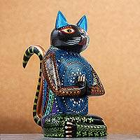 Wood alebrije sculpture, 'Cat Meditating' - Small Meditating Cat Alebrije Sculpture from Mexico