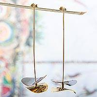 Gold and rhodium plated drop earrings, 'Curved Planes' - Artisan Designed Gold and Rhodium Plated Earrings