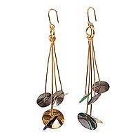 Gold and rhodium plated dangle earrings, 'Cymbals' - Cymbal-Like Gold and Rhodium Plated Dangle Earrings