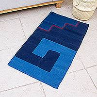 Wool area rug, 'Blue Labyrinth' (2x3.25) - Hand Crafted Blue Wool Area Rug with Natural Dyes (2x3.25)