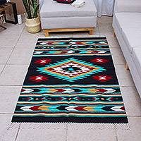 Hand loomed wool area rug, 'Teotitlan Legacy' (4x6.5) - Hand Loomed Zapotec Wool Area Rug (4x6.5)