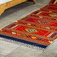 Wool runner, 'Zapotec Vision' (2.5x11) - Long Hand Loomed Wool Runner Rug (2.5x11)