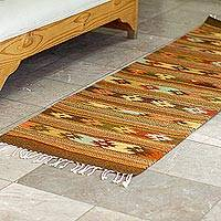 Wool runner, 'Southern Stars' - Hand Woven Earth Toned Wool Runner Rug