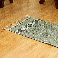Wool runner, 'Subtle Shades' (2x6.5) - Hand Loomed Grey and Wheat Runner Rug (2x6.5)