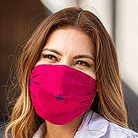 Cotton face masks 'Rich Ruby Red' (pair) - 2 Handwoven 1-Layer Ruby Red Cotton Headband Face Masks