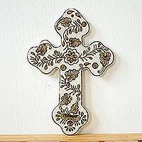 Ceramic wall cross, 'Flourishing Cross' - Handmade Ceramic Wall Cross with Floral Motif