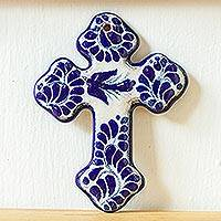 Ceramic wall cross, 'Puebla Peace' - Handcrafted Talavera Style Blue and Off White Wall Cross