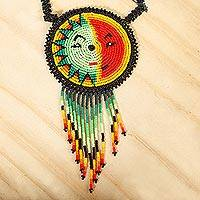 Beaded pendant necklace, 'Wirikuta Sun' - Sun and Moon Themed Huichol Beaded Necklace