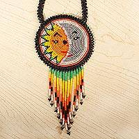 Beaded pendant necklace, 'Wirikuta Eclipse in Grey' - Sun and Moon Eclipse Motif Huichol Beaded Necklace