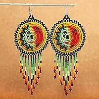 Beaded waterfall earrings, 'Wirikuta Sun' - Long Colorful Beaded Huichol Waterfall Earrings