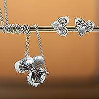 Silver jewelry set, 'Blooming Orchid' - Hand Crafted 950 Silver Orchid Jewelry Set
