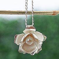 Cultured pearl pendant necklace, 'Lovely Gardenia' - Cultured Pearl and 950 Silver Flower Pendant Choker