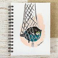 Art print mini journal, 'Hammock Kitten' - Cat Themed Unlined Paper Mini Journal
