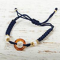Crystal pendant wristband bracelet, 'In the Navy Now' - Swarovski Crystal Pendant Bracelet with Cultured Pearls