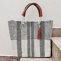 Leather accent tote, 'Neutral Classic' - Handwoven Eco Friendly Mexican Tote in Black-White-Grey
