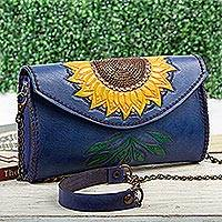 Leather clutch or shoulder bag, 'Golden Sunflower' - Hand Tooled Sunflower Motif Clutch or Shoulder Bag