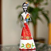 Papier mache sculpture, 'Catrina with Macaw' - Handmade Papier Mache Catrina Sculpture with Macaw