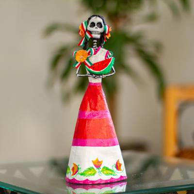Papier mache sculpture, 'Catrina with Watermelon' - Hand Crafted Catrina Skeleton Sculpture from Mexico