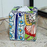 Ceramic tissue box cover, 'Talavera Bouquet' - Hand Painted Talavera Style Tissue Box Cover