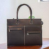 Leather briefcase, 'Efficient and Beautiful' - Black Leather Briefcase with Laptop Compartment from Mexico