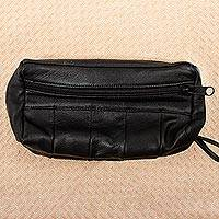 Leather wristlet, 'On Track in Black' - Black Leather Wristlet Carry All from Mexico