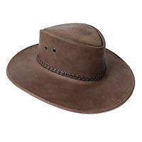 Men's leather hat, 'Outback Ranger in Espresso' - Men's Ranger-Style Leather Hat in Brown