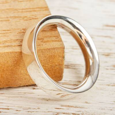 Unisex silver band ring, 'Classic' - Simple 950 Silver Band Ring