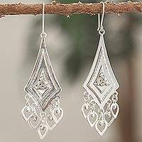 Sterling silver chandelier earrings, 'Triskelion' - Triskelion Motif Sterling Silver Chandelier Earrings
