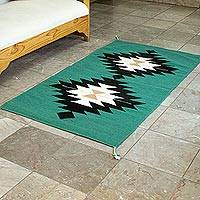 Wool area rug, 'Diamonds and Jade' (2.5x5) - Hand Woven Natural Dyes Area Rug (2.5x5)