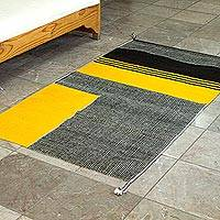 Wool area rug, 'Crosswalk' (2.5x5) - Bold Yellow and Black Area Rug (2.5x5)