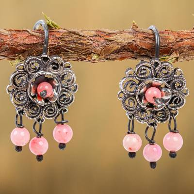 Sterling silver filigree chandelier earrings, 'Vintage Bohemian' - Pink Crystal Beaded Chandelier Earrings