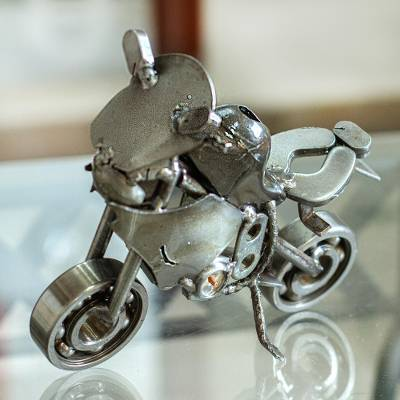 Recycled auto parts sculpture, 'Rustic Motocross Bike' - Rustic Motocross Bike Recycled Metal Sculpture