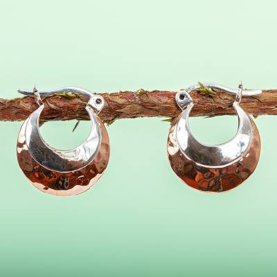 Sterling silver and copper hoop earrings, 'Taxco Mix' - Hoop Earrings with Sterling Silver and Copper