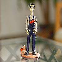 Ceramic sculpture, 'Painter Catrin' - Mexican Folk Art Painter Skeleton Statuette