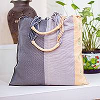 Cotton tote bag, 'Tranquil Day' - Hand Loomed Cotton Tote from Mexico