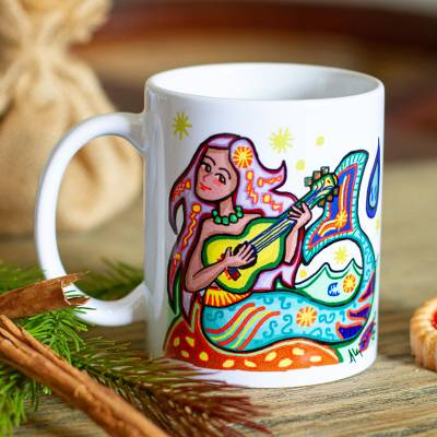 Ceramic mug, 'Mermaid' - Mermaid Motif Ceramic Art Mug