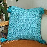 Cotton cushion cover, 'Oaxaca Diamonds in Turquoise' - Turquoise Handmade Cotton Cushion Cover