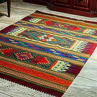 Zapotec wool area rug, 'Mixtec Mystery' (4x7) - Colorful 100% Wool Zapotec Area Rug (4x7)