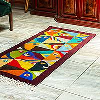 Wool area rug, 'Tessellated Fish in Maroon' (2.5x5) - Maroon-Bordered Fish Motif Area Rug (2.5x5)