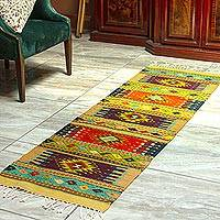Zapotec wool runner, 'Valley Diamonds' (2x6.5) - Hand Loomed Multicolored Zapotec Runner (2x6.5)