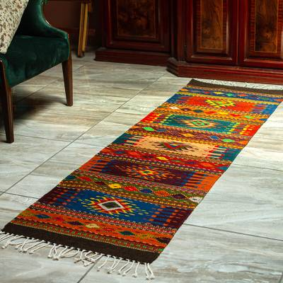 Zapotec wool runner, 'Valley Shadows' (2x6.5) - Artisan Crafted Wool Runner with Natural Dyes (2x6.5)