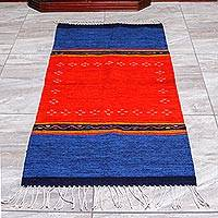 Zapotec Wool area rug, 'Oaxacan Breeze' (2.5x5) - Blue and Red Hand Woven Zapotec Wool Rug (2.5x5)
