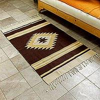 Zapotec wool area rug, 'Zapotec Earth' (3x5) - Wool Zapotec Style Area Rug (3x5)