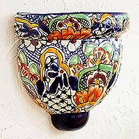 Ceramic wall planter, 'Guanajuato Garden' - Handmade Multicolored Ceramic Wall Planter